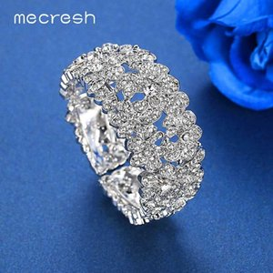 Mecresh Color Bridal Bangles Bracelet for Women Luxury Statement Crystal Flower Cuff Bracelets Wedding Jewelry SL421