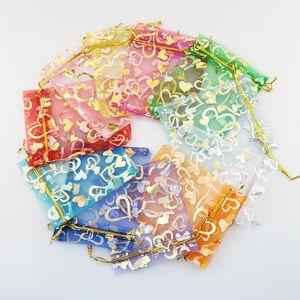 11 цветов 7X9cm открыть золото серебро сердце небольшой органзы сумки ювелирные изделия подарок мешки конфеты мешок ювелирных изделий мешки, Сумки HJ246