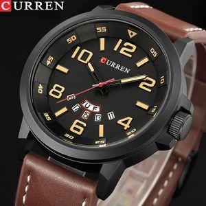Top-Marke Luxus CURREN Männer Sportuhren Herren Armee-Militär Leder-Quarz-Uhr Male Wasserdichte Uhr Relogio Masculino