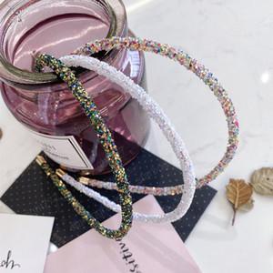 New Fashion Drill Teeth Narrow Side Thin Women's Hair Band Bezel Turban Headband Girls Non-slip Hair Accessories