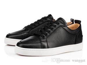 Sıcak Satış - Siyah, Beyaz Deri Erkek Düz Düşük Üst Kırmızı Alt Sneakers Erkek Ünlü Marka Kadınlar Açık Boş Parti Ayakkabı EU35-46
