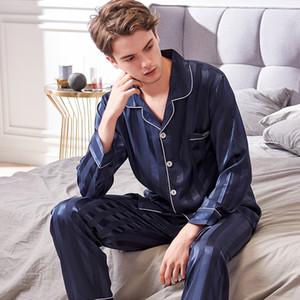 Xifenni Faux pijamas de seda masculino 2020 Otoño Nueva sedoso ropa de noche de seda del hielo hombre de manga larga de moda pijama de rayas 9004