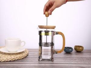 Cafetera de acero inoxidable de 350 ml con prensa francesa, tapa de bambú y mango Hervidores de vidrio de té portátiles duraderos