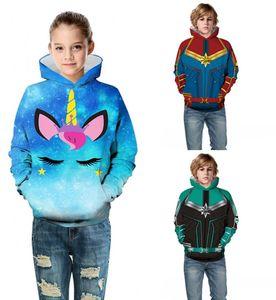 재미 후드 키즈 스웨터 3D 다채로운 유니콘 선장 소년 소녀 후드 아동 자켓 긴 소매 봄 풀오버 인쇄하기