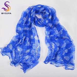 [BYSIFA] Bleu Femmes Soie Écharpe Foulard Accessoires De Mode Nouveau Printemps Élégant soie longues écharpes D'été Dames plage châle