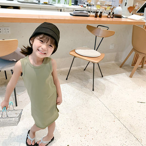 children clothing summer new Korean little girls solid color Tshirt children sleeveless vest kids sleeveless cotton dresses