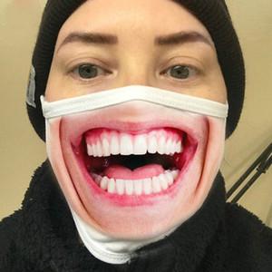 Komik 3D İfade Yüz Yıkanabilir Yeniden kullanılabilir Bisiklet Maske Tasarımcı Lüks Yüz Maskesi Toz geçirmez Moda Baskı Pamuk Maskeler Maske