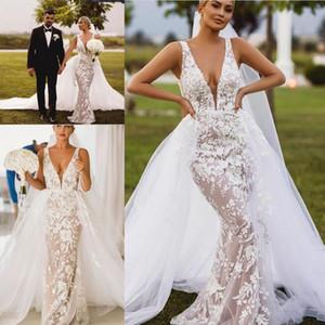 Sexy profunda Pescoço V Sereia vestidos de casamento com trem destacável Open Back completa Lace Praia bohemain Plus Size Vestido de Noiva