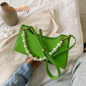 Motif en pierre PU Sacs Crossbody cuir pour femmes chaîne d'épaule Messenger Bag Lady Solid Color Sacs à main Rétro porte-monnaie