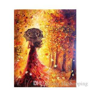 Alta calidad pintada a mano HD Print Beautiful Women Autumn Landscape Art pintura al óleo sobre lienzo Wall Art Home Deco Multi Sizes p419