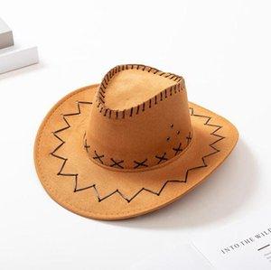Взрослые Ковбойские шляпы замша Western Knight Hat Ретро Брим Caps Открытый Летний пляж Путешествия Hat OOA7429