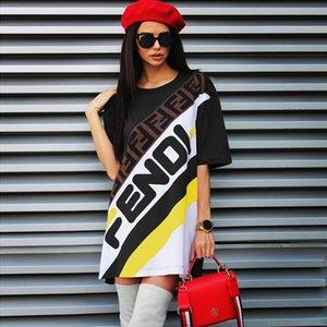 Kadın Yaz Elbise Gevşek Etek Yaz Kadın Giyim Kısa Kollu Çiçek Elbise Tasarımcı Günlük tişört Elbiseler Bayan Giyim Tops