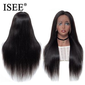 2020 New Straight HD Transparent Lace Frontal Wigs For Women ISEE HAIR Wigs 180% Density Malaysian Straight Lace Front Human Hair Wigs