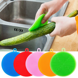 실리콘 접시 그릇 청소 브러쉬 다기능 5 색 수세미 냄비 냄비 팬 워시 브러쉬 클리너 주방 접시 세탁 도구 DBC DH0718