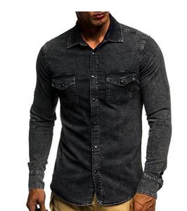 Homens S Sólido shirt Marca masculino Fit manga comprida camisas casuais cor sólida Denim Slim Fit camisas de vestido dos homens 3xl Camisas Casual Tendência