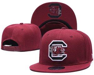 2018 Nova Carolina do Sul Gamecock NCAA Snapback Chapéus Marca EUA Faculdade Logotipo Dos Desenhos Animados Caps Ajustáveis Moda Hip Hop Borgonha Chapeaus Vermelho