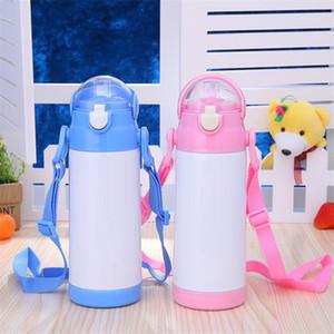 Garrafa 12 onças sublimação Sippy Cup água de aço inoxidável com palha corda Double Wall Duplas Silicone Bico Crianças Cup A03