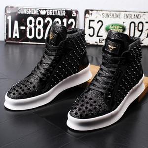 NEW dos homens sapatos de grife, sapatos rebite casuais grossas, sapatos de couro, sapatos Zhongbang placa casuais, botas de sola grossa W28