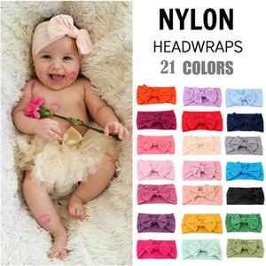 21 Color de pelo de nylon banda de niños de Europa y América del bebé color sólido arco de la venda de los niños de moda bowknot diadema T9I00260