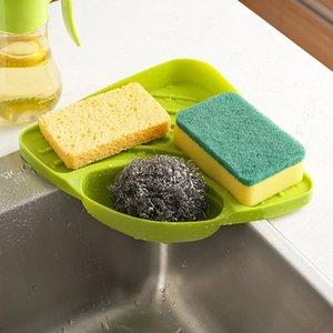 Kitchen Sink Storage Rack Sponge Holder With Sucker Drainer Tray Kitchen Organizer Shelf Spice Holder Bathroom Accessories