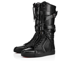 New Items!Mens black genuine leather sports boots cool man flat red bottom Sporty Dude Flat zipper with nails,buckle knee boots for man35-46