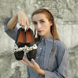 Handmade Women'S Genuine Leather Shoes With Square Toe Flat Sole Silk Bowknot Gray Black