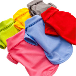 Spring and summer clothing dog multi-color optional pure-color polyester polo shirt pet T-shirt Baitie factory direct sales