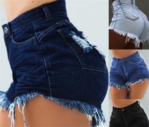 Para mujer diseñador de la borla de los pantalones cortos de talle alto flaco regular cortocircuitos Mujeres agujeros de botón de la mosca Delgado Pantalones cortos