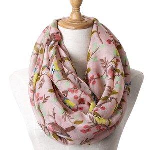 New Winter Children Snood Scarf Soft Viscose Shawls and Wraps Cute Bird Print Infinity Scarves for Girls' Pashmina Bufanda Foulard