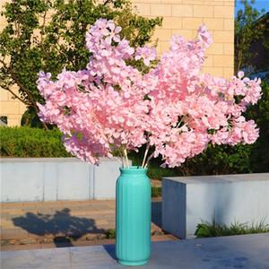 High Densities 4 Fork Fake Cherry Blossom Flower Branch Begonia Sakura Tree Stem for Event Wedding Tree Deco Artificial Decorative Flowers