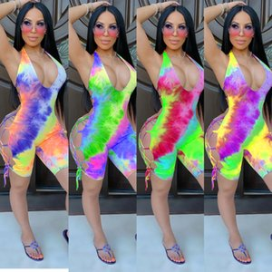 Sexy Women Designer Combinaison Vêtements d'été Combinaisons Jumpilles à colonne Neuf Style Scoop Neck Rompes Short sans manches S-2XL Capris Hot Sell Vendre DHL Tokl