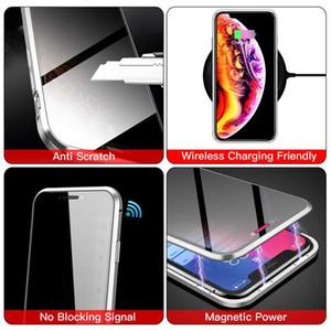 Magnetic Telefone Capa iphone 11 Pro MAX XS XR X 8 7 6 Privacidade Metal Cover Double Side vidro temperado anti-spy caso