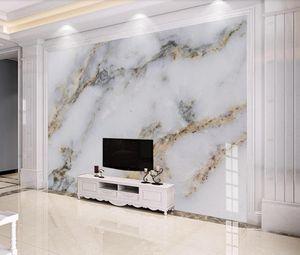 Bedroom TV Arkaplan Duvar Dekoru Altın Resimleri Fotoğraf Baskılı Kağıt Modern Beyaz Mermer Duvar Kağıdı 3D Duvar Resmi