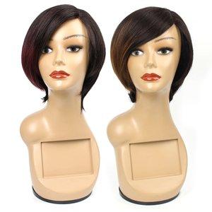 Короткие pixie кружева перед парики человеческих волос для женщин Ombre коричневого цвета двухцветный бразильский перуанский индийский девы парики человеческих волос 6 дюймов