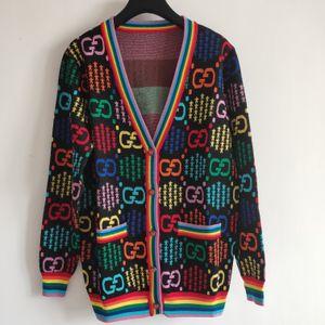 2020 Milão Runway camisola High End Jacquard Cardigan Mulheres Sweater Designer de camisola Pescoço V manga comprida Mulheres