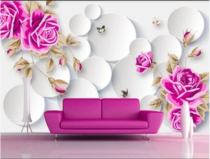3D wallpaper custom photo 3D circle rose flower butterfly flower TV background wall stickers Home decor muals wall paper for walls 3 d