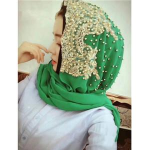 Nouvelle collection 2018 de grande classe perler femmes musulmanes dentelle mousseline hijab chaîne de tête longue écharpe femmes Couvre-chef # CJ899 arab