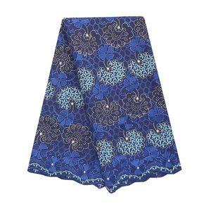 Nigerian Spitze-Gewebe-2019 Qualitäts-Magenta Königsblau Spitze-Gewebe-Männer Schweizer Voile Baumwollspitze Material für Afrikanische Frauen