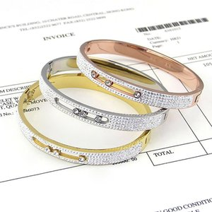 fashion titanium steel full diamond Love Bracelet&bangle woman jewelry With Three Career Ol Hollow Men H mess Bracelet For Each Button gift