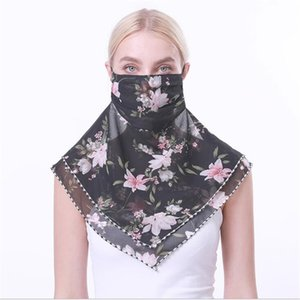 2020 Fashion Chiffon Women Face Scarf Summer Sun-proof Dust-proof Soft Warps Printing Flowers Outdoor Travel Scarves Wholesale