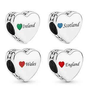 100% auténtico 925Sterling Plata Reino Unido territorio corazón de los granos flojos Amor adapta a la joyería europea Pandora pulseras del encanto Ale Micangas logo perles