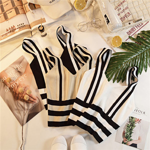 Summer Women Fashion Knitting Stripe Tank Crop Tops Female Knitted Stretchy Cropped Camisole Sleeveless Short T shirts