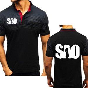 Новые 2020 Лета Мужской Poloo рубашки Anime Sword Art Online SAO Ситец Crew шея с коротким рукавом случайной Мужской с коротким рукавом