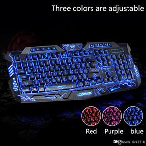 Teclado de jogos com interruptor LED Backlit M-200 Bilíngüe Russo Inglês Gaming Teclado 3 Modos de Backlight Modos USB Wired Powered 19 Chaves Conflito