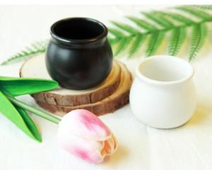 Yeni Seramik Saksı Küçük Bitki Pot Bonsai Ekici Mini Yuvarlak Siyah Beyaz Renk Kapalı Ev Bahçe Dekor