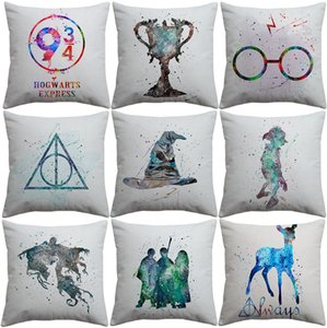 Harry Potter Kissenbezug Aquarellmalerei Sortierung Hut der Feuerkelch Kunst Kissenbezüge Sofa Dekorative Leinenbaumwollkissenbezug