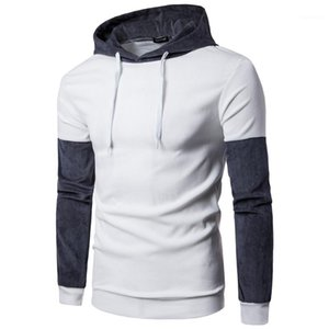Designer Homme Hat Collar Wrinkle Long Sleeve Pullover Male Fashion Tops Mens Panelled Contract Color Hoodies