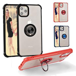 iPhone 11 Pro Max XS XR X 8 Artı Telefon Kılıfı Şeffaf TPU Tampon PC Sabit Arka Kapak Manyetik Halka Araç Tutucu için