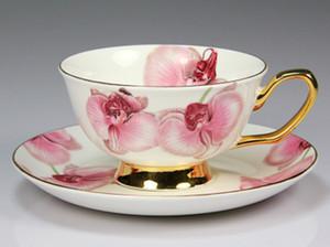 oryantal kiraz Seramik İkindi Siyah Çay fincanlar Kemik Çin Coffee Cup ile Tepsi Porselen Drinkware Seti Dropshipping