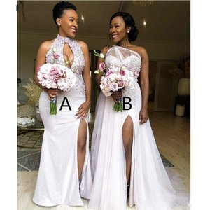 2020 Sexy High Thigh Slit Bridesmaids Dresses Beaded Applique Plus Size Prom Dress Evening Gown Formal Party Wear